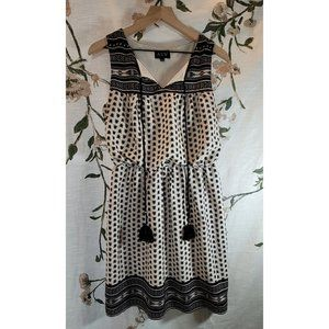 🐰 AUW Black White Boho Tassel Mini Dress